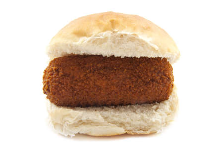 l first: A bun with dutch kroket isolated over white Stock Photo