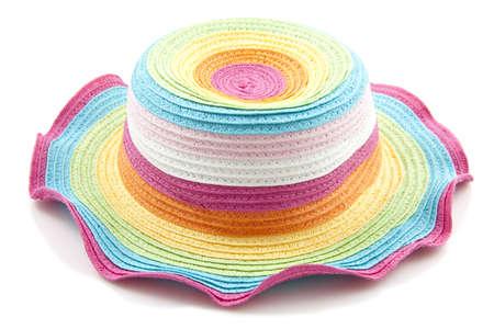 Kleurrijke regenboog strooien hoed close up op witte Stockfoto