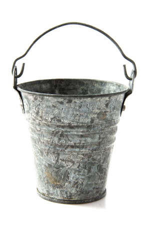 Old metal vintage bucket isolated over white