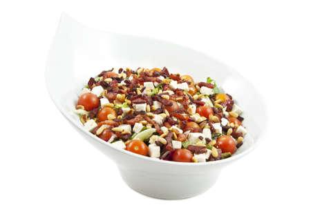 cornsalad: Healthy fresh salad variation mix isolated over white