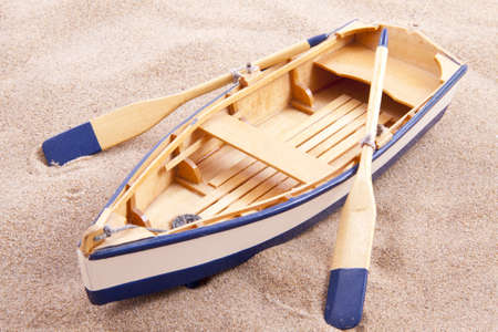 3d boat: Classic old little wooden boat on the sand for background use