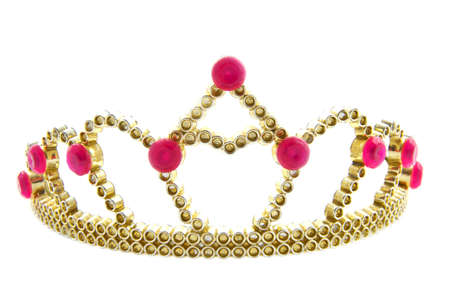 Golden crown with pink jewels isolated over white Stock Photo
