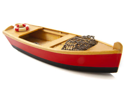 Fish boat in red and black isolated over white Stock Photo