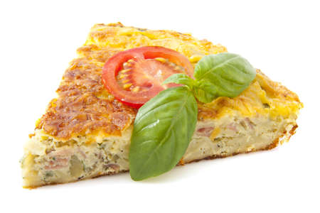 omelet: Tortilla with basil and tomato isolated over white Stock Photo