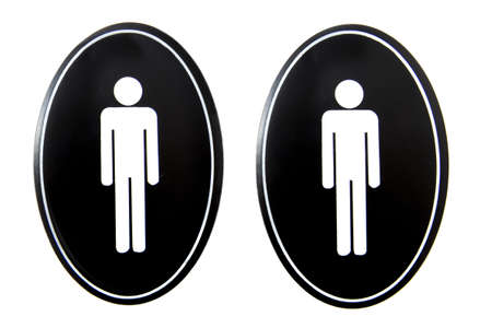 restroom: Two button icons with men symbol for restroom isolated over white Stock Photo