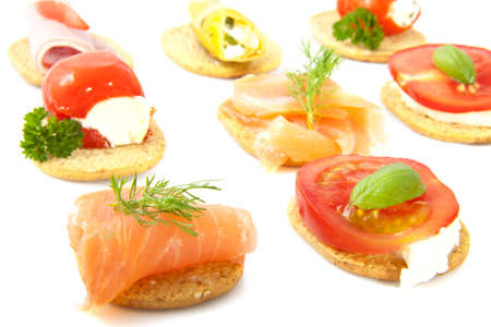 Toast with different tasty food in a row for background use Stock Photo - 13971350
