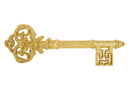 key in door: Golden glitter key isolated on a white background