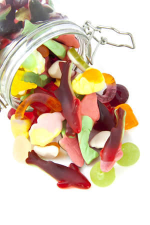 Colorful candy in glass jarfor background use photo