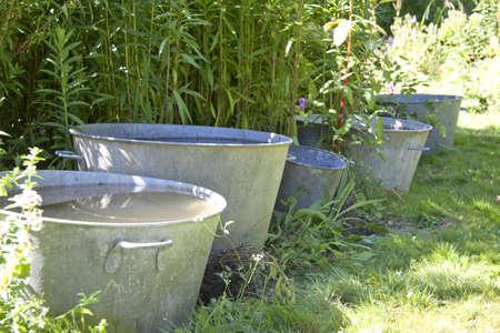 seau d eau: Seaux dans un jardin verdoyant rempli d'eau de pluie