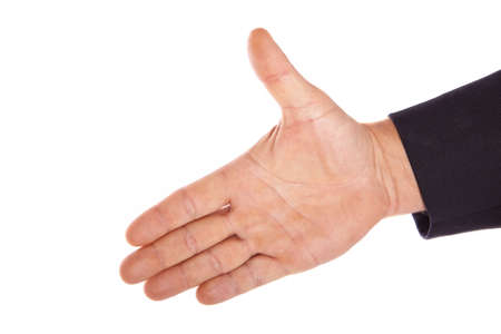 caucasian hand reaching isolated on a white background photo