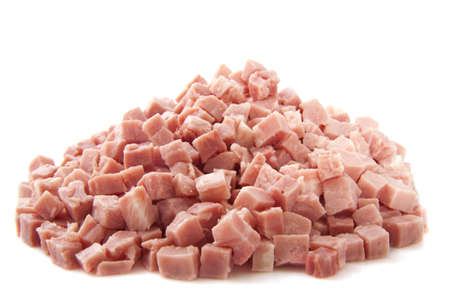 Pieces of ham on a pile isolated over white Stock Photo