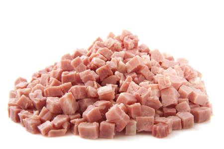ham: Stukken van ham op een stapel geà ¯ soleerd over white Stockfoto