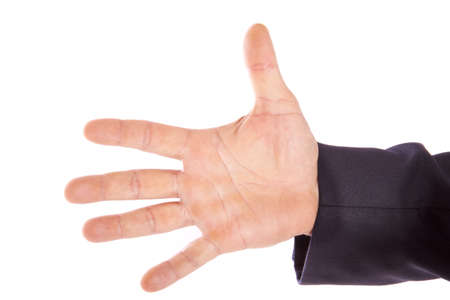 Male spread hand on a white background photo