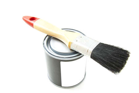 Paintbrush with paint-pot isolated over white Stock Photo - 15159994