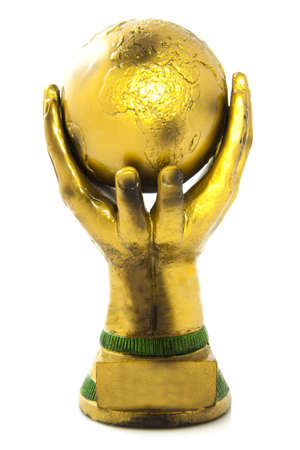 football trophy: Golden globe in hands isolated over white