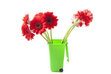 garbage can: Red gerberas in green garbage can isolatedn over white