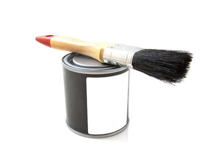 paintcan: Paint brush with paintcan isolated on a white background Stock Photo