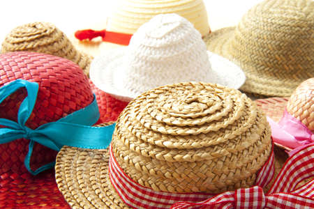 accessorize: Different straw hats with ribbon for background use