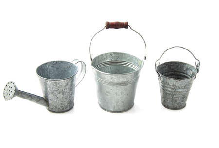 Three zinc cans in a row isolated over white Stock Photo - 16329943