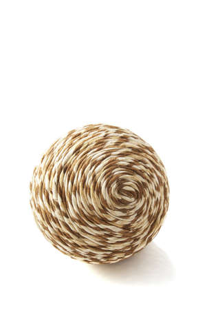 weave ball: Wooden simple twisted ball isolated over white