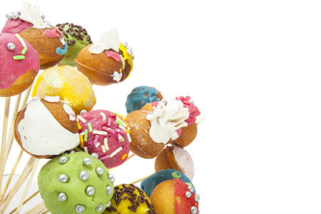 cake pops: Colorful decorated pop cakes on a white background