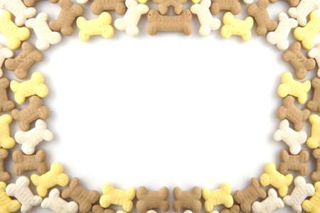 kibble: Border of dog cookies for background use Stock Photo