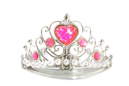 diadem: Shiny silver crown with pink heart isolated over white