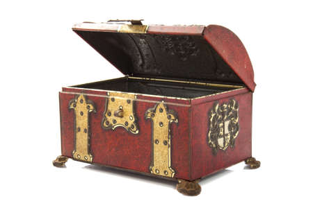 Old treasure chest closeup isolated over white photo