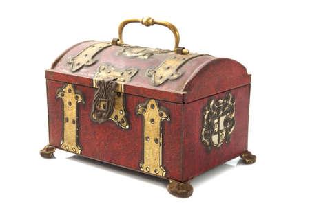 treasure box: Old treasure chest closeup isolated over white