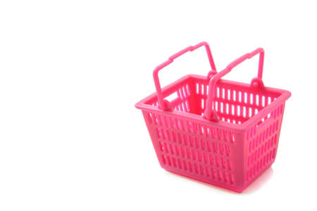 Empty pink grocery basket isolated over white Stock Photo