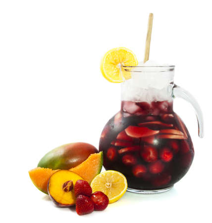 Fresh cold sangria isolated on a white background photo
