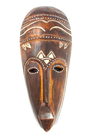 zulu: Wooden painted african mask isolated over white