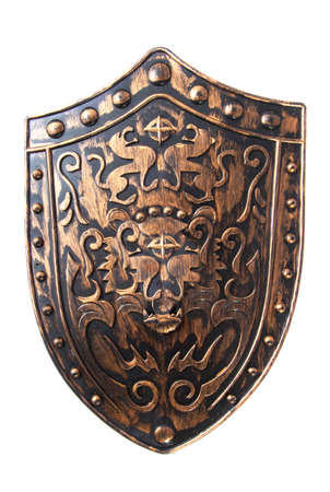 medieval shield: Old decorative shield isolated over white Stock Photo