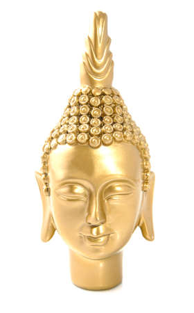 buddah: Golden budha head close-up isolated over white Stock Photo
