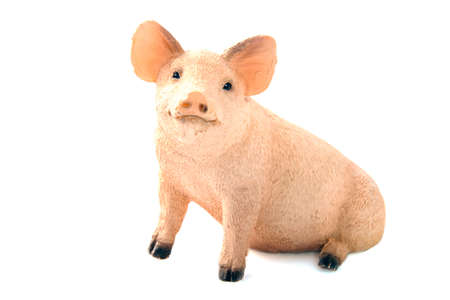 pig out: Cute sitting pig figurine isolated over white