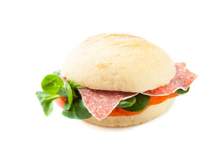 jambon: Italian style sandwich  isolated on a white background