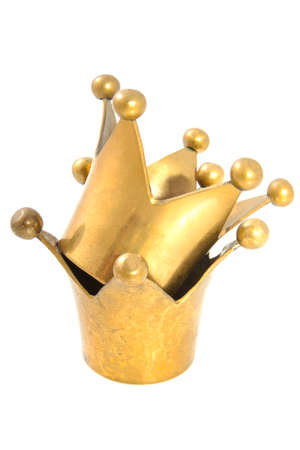 cupper: Two golden crowns on a pile isolated over white Stock Photo