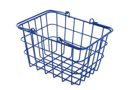 empty basket: Empty blue basket isolated over white Stock Photo