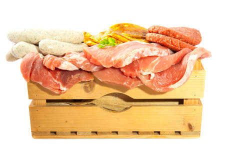 llonganissa: Crate with lots of meat isolated over white