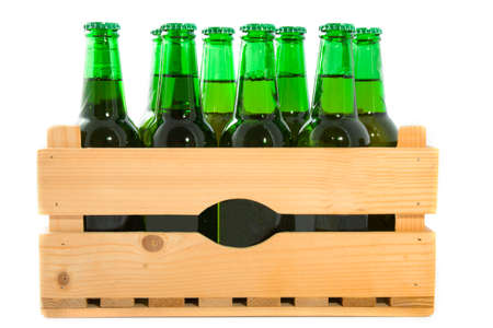 wooden box: Wooden crate with beer bottles isolated over white
