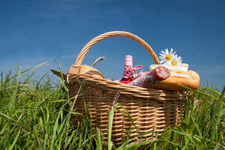 picknick: Picnic  in the grass with tasty food and wine