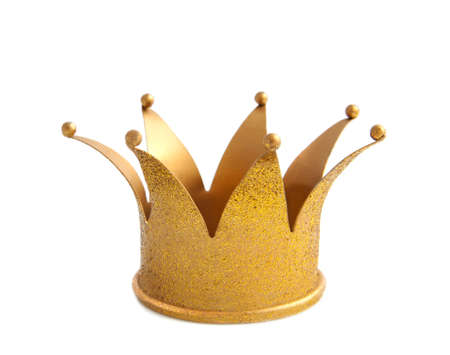 corona de rey: Corona de oro con brillos aislado m�s de blanco
