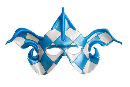 Blue white harlequin mask isolated over white photo