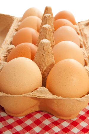 ovoid: Eggs in a carton box with cloth for background use