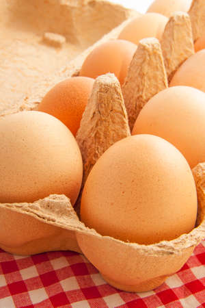 ovoid: Eggs in a carton box close-up with cloth for background use