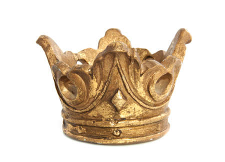 cupper: Old vintage golden crown isolated over white Stock Photo
