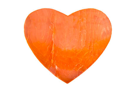 pink salmon: Heart of smoked pink salmon isolated over white