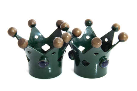 cupper: Two old vintage crowns isolated over white