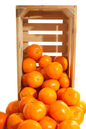 wooden crate: Wooden crate fresh clementines for background use Stock Photo
