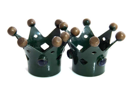 cupper: Two old vintage crowns with gems isolated over white